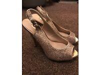 Next gold sparkle high heels