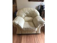 3 seater cream leather settee + 2 chairs