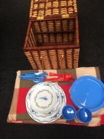 Wicker Picnic Basket & Extras