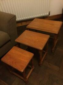 Nest of three solid pine side tables