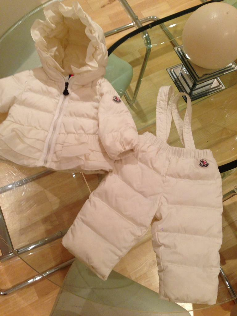 3db895c2e Moncler baby girls cream Snowsuit. Coat and pants.6 to 9 months | in  Everton, Merseyside | Gumtree