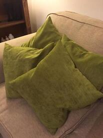 4 green cushions (covers & fillers inc)