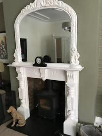 Edwardian mahogany fire surround and matching overmantle mirror mirror