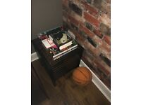 Ikea dark wood storage box trunk stool with lid