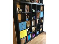Large black expedit bookcase + drawers, cupboard & 2 boxes