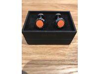 Brand New Boxed Mens Hugo Boss Cufflinks In Orange & Silver
