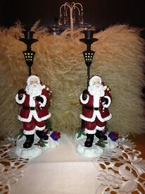 Two Solid Metal Santa Candle Sticks