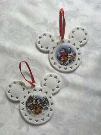 2 DISNEY China Christmas Hanging Ornaments