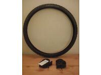 Brand new, unused MTB tyre and inner tubes.