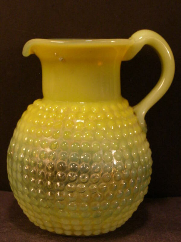 Antique Opalescent Vaseline Uranium Glass Pitcher Clevenger Thousand Eye Hobnail