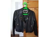 River island size 10 leather style jacket. Sold as seen.