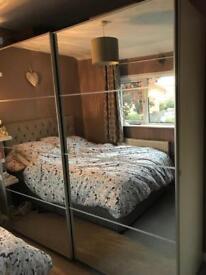 Ikea PAX double wardrobe with mirrored doors