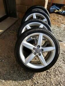 AUDI A4 FACTORY OEM 18 INCH WHEELS WITH PIRELLI ULTRA HIGH PERFORMANCE 245 / 40 / 18 ALL SEASON TIRES.