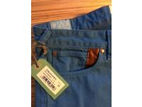 Paul Smith Men's Straight Leg Blue Cotton Jeans - 'Red Ear' BRAND NEW WITH TAGS!