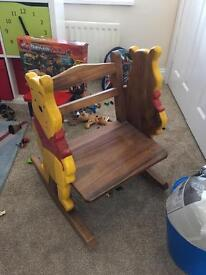Beautiful solid wood Winnie the Pooh rocking chair