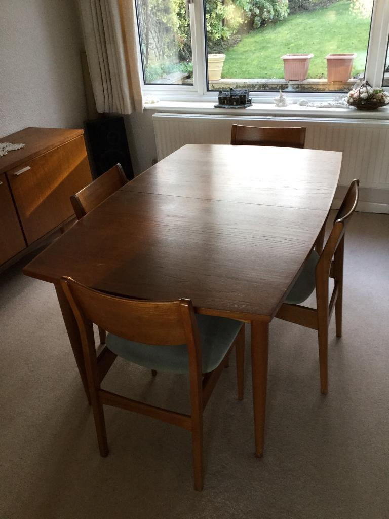 White And Newton Teak Mid Century Dining Table 4 Chairs