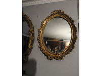 small vintage ornate gilt framed in oval mirror