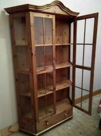 FRENCH COUNTRY STYLE, PINE DISPLAY CABINET/ BOOKCASE, WITH ADJUSTABLE SHELF'S AND STORAGE DRAWER