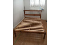 Pinewood Double Size Bed Frame Plus Mattress Good Condition