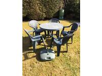 Patio Table, 5 Chairs and umbrella base
