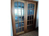 GLAZED HARDWOOD INTERIOR FRENCH DOORS - PLUS ALL FITTINGS/HANDLES