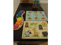 Wooden Toy Bundle - Melissa n Doug Caterpillar, Stacking Cars, Bob the Builder & Zoo animal puzzles