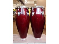 pair conga drums, cherry red quinto & conga