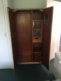 A pair of vintage matching wooden wardrobes (1950's)