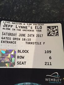 2 x. Jeff Lynn ELO tickets for Saturday 24th june. Want what I paid for the £220.