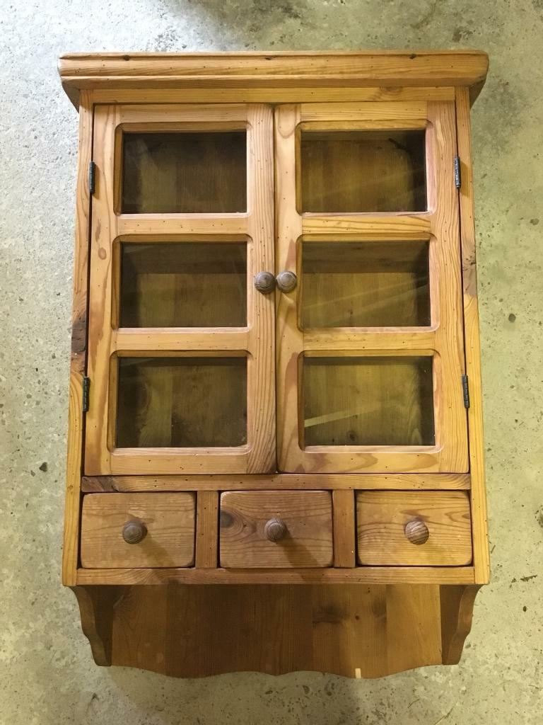 Wooden Pine Wall Cupboard Cabinet With Glass Doors And Three Draws
