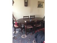 Six seater table and chairs, side tables, tv unit and brand new wardrobe