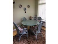 dining table, 4 chairs and matching sideboard