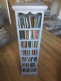 Grey painted wood floor standing cd cabinet £20