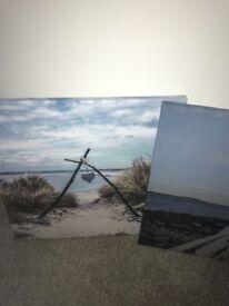 3 beach scene canvases