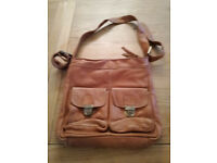 John Lewis tan leather cross body handbag