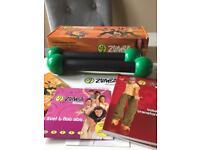 Zumba fitness DVD exercise kit includes toning sticks