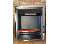 Hardly used living flame inset fire, complete with full instructions, coals and remote control