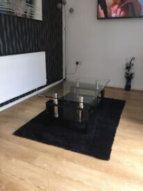 Coffee table / black rug / black and silver vase