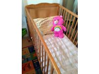 Saplings Kirsty Cot Bed in Natural Wood, with mattress and bedding