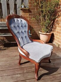 Beautiful regency style chair and side table. Ideal for upcycling project. Solid wood frame.