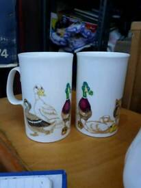 Mugs - Set of 2 bone China Muddy Marks duck farm mugs cups