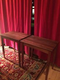 Hand made walnut side tables
