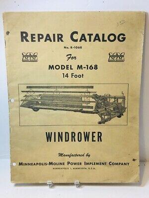 Original Minneapolis Moline Model M-168 14 Foot Windrower Repair Catalog
