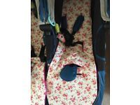 2 pram liners floral with fleece liner for jogger city