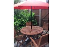 Garden set with parasol hardly used,very good condition