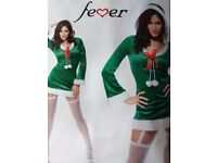 33203 Fever Cheeky Little Adult Fancy Dress Costume, inc dress & hood, Green. Small only