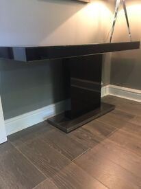 Black Glass Sideboard Console Table For Sale
