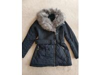 New look ladies jacket with fur size 10