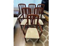 Vintage Solid Wooden High Back Dining Chairs x 6