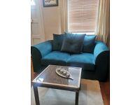 Teal Velvet Two Seater Sofa